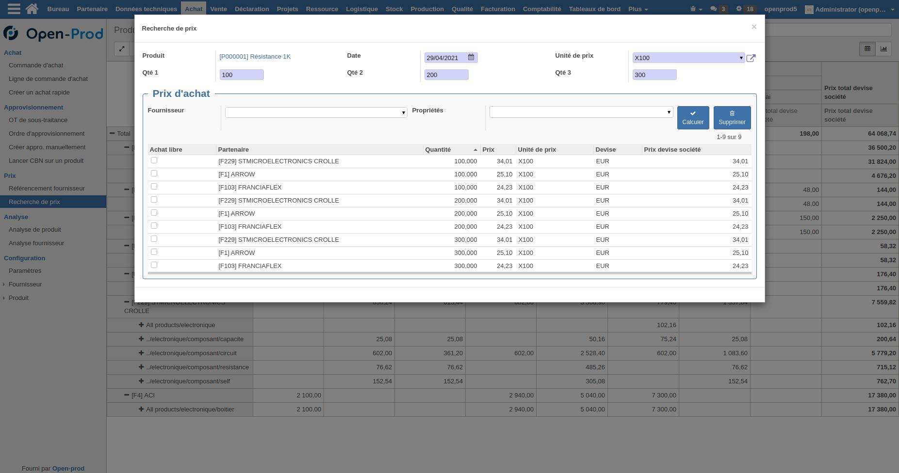 Interface recherche de prix par fournisseurs