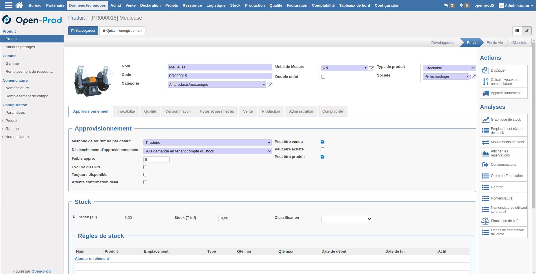 Interface de création d'un produit dans l'ERP