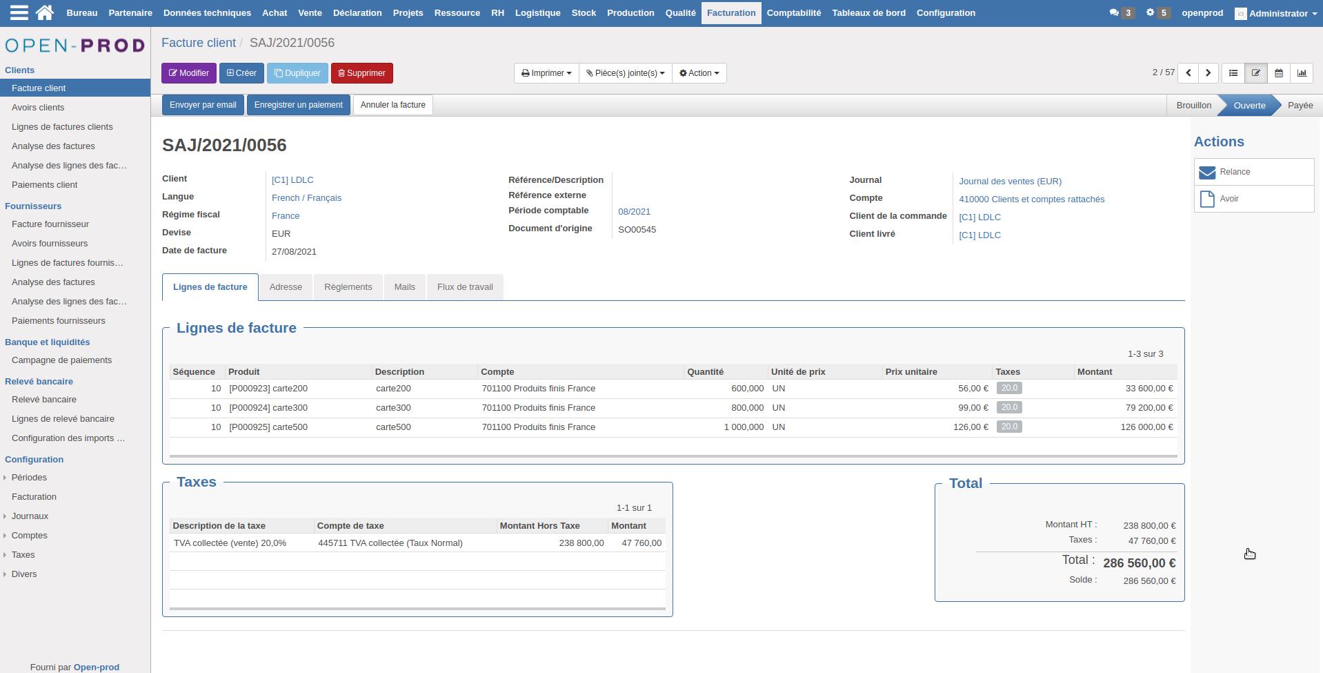 Interface de facture d'un client dans l'ERP