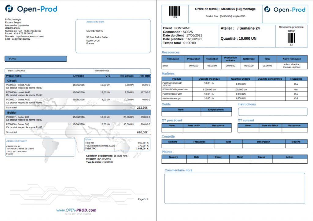 Exemples de documents exporter de l'ERP Open-Prod